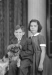 """Jesus Montes, Consuelo (Connie) Montes Alvarez, and dog, """"Baby"""""""