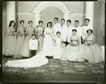 Henry Castillo and Estela Mendel Castillo; bridesmaid to left: Norma Ruiz
