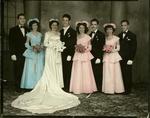 Manuel González, Elvira Escajeda Fourzan (bride's sister), Guadalupe Josefina Escajeda (bride), Elman Alfonso Chapa (groom), Edith Chapa (groom's sister), unidentified man, Martha M. Salas, and Enrique Escobar. (left to right)