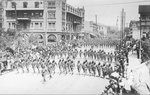 US Military, Infantry. Horse, wagon march. El Paso, Texas.